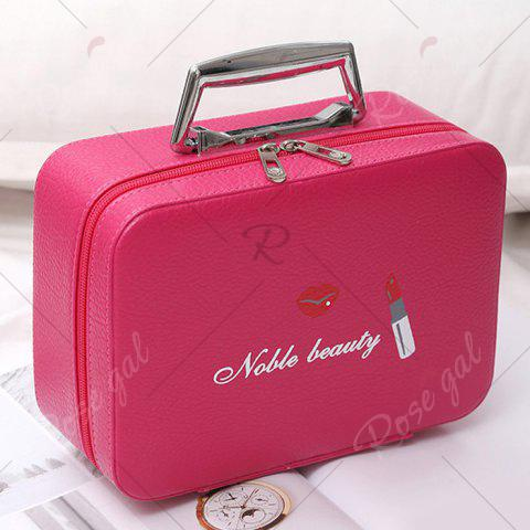 Chic Lip and Lipstick Print Makeup Box - ROSE RED  Mobile