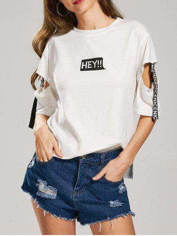 Outfits Letter Hey Print Cut Out Sleeve T-Shirt WHITE L