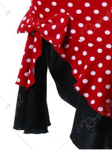 Buy Bowknot Decorated Polka Dot Mermaid Skirt - L RED Mobile