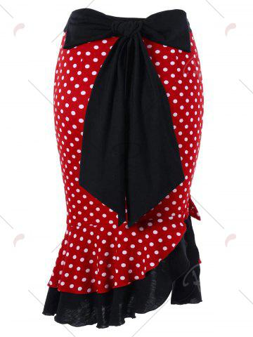 Chic Bowknot Decorated Polka Dot Mermaid Skirt - L RED Mobile