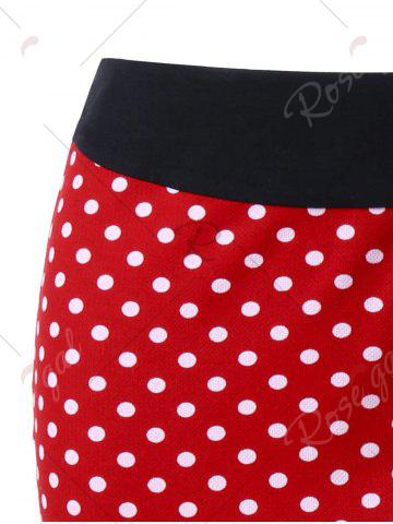 Discount Bowknot Decorated Polka Dot Mermaid Skirt - L RED Mobile