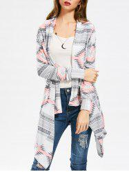 Casual Geometric Printed Long Sleeve Asymmetric Cardigan For Women - PINK