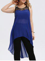 Plus Size Lace Panel Chiffon High Low Tank Top
