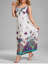 Printed V Neck Maxi Plus Size Evening Dress