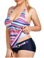 Plus Size Halter Striped Tankini Set