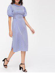 Striped High Slit Puff Sleeve Midi Dress - STRIPE