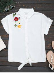 Flower Embroidered Button Up Shirt