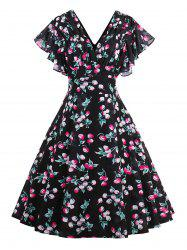Flounce Sleeve Vintage Print Midi Dress
