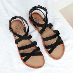 Flat Heel Cross Straps Sandals -