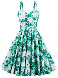 A Line Mini Floral Pleated Dress