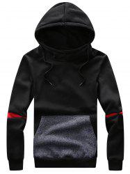 Color Block Panel Hooded Drawstring Fleece Hoodie
