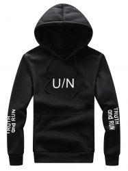 Graphic Print Hooded Drawstring Hoodie - BLACK