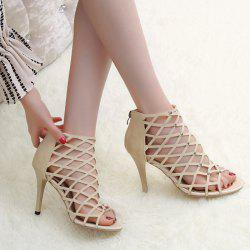Hollow Out Studded Zipper Sandals