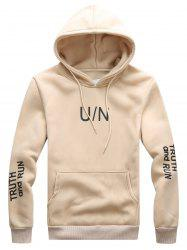 Graphic Print Hooded Drawstring Hoodie - LIGHT KHAKI