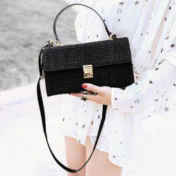 Woven Straw Cross Body Handbag - BLACK