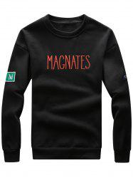 Graphic Embroidered Crew Neck Appliques Fleece Sweatshirt