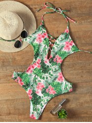 Halter Floral Backless Criss Cross Swimwear - COLORMIX