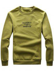 Graphic Embroidered Crew Neck Rib Fleece Sweatshirt