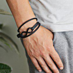 Faux Leather Braid Infinite Rope Bracelet - BLACK