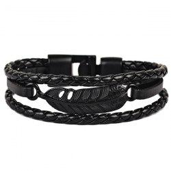 Faux Leather Braid Rope Feather Bracelet