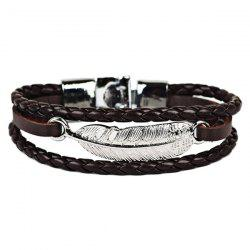 Faux Leather Braid Rope Feather Bracelet -