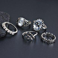 Faux Gem Oval Vintage Finger Ring Set - SILVER