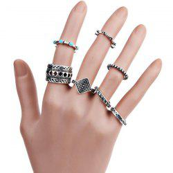 Engraved Geometric Bohemian Finger Ring Set - SILVER