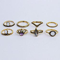 Rhinestone Vintage Teardrop Finger Ring Set - GOLDEN