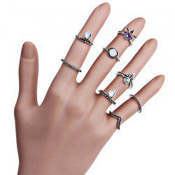 Rhinestone Vintage Teardrop Finger Ring Set