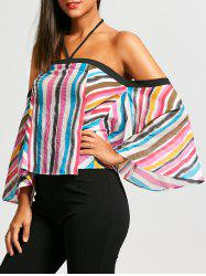 Flare Sleeve Striped Off Shoulder Blouse