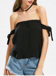 Sleeve Self Tie Off The Shoulder Top