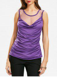 Sheer Mesh Panel Ruched Top