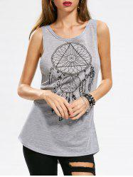 Totem Print Cut Out Tank Top