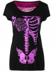 Cut Out Lace Insert Skeleton Print T-Shirt