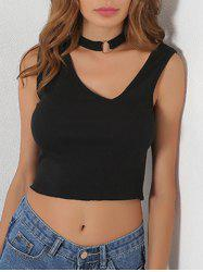 Asymmetric Neck Ribbed Crop Tank Top