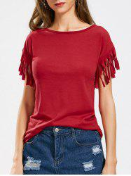 Short Sleeve Fringe Embellished T-shirt