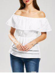 Ruffle Off The Shoulder High Low Top