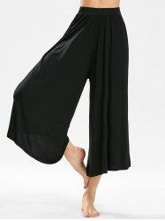 High-waisted Cropped Wide Leg Pants - BLACK
