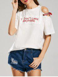 Streetwear Graphic Patched Cold Shoulder T-Shirt