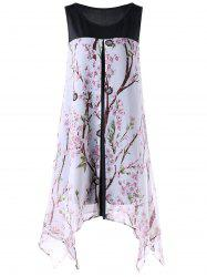 Tiny Floral Sleeveless Plus Size Handkerchief Dress - WHITE
