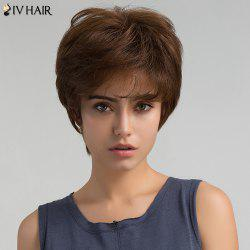 Short Inclined Bang Layered Shaggy Straight Human Hair Wig - BROWN