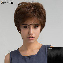 Short Inclined Bang Layered Shaggy Straight Human Hair Wig