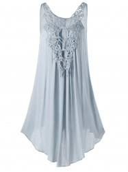 Lace Panel Sleeveless Mini Dress - LIGHT GRAY
