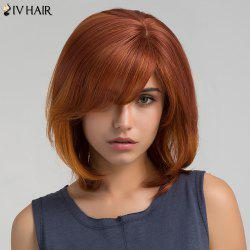 Short Inclined Bang Straight Bob Human Hair Wig - PEARL BROWNISH RED