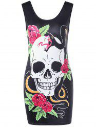 Skull Floral Print Mini Bodycon Dress - BLACK
