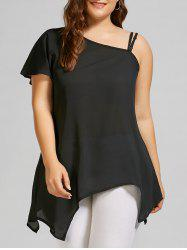 Plus Size Chiffon Skew Neck Asymmetric Top