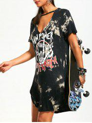 Printed Slit Plunge Neck T-shirt Dress