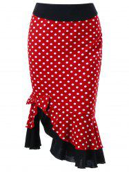 Bowknot Decorated Polka Dot Mermaid Skirt - RED
