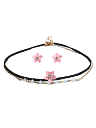 Floral Choker Necklace with Earring Set