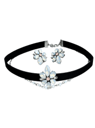 Flower Choker Necklace with Earring Set